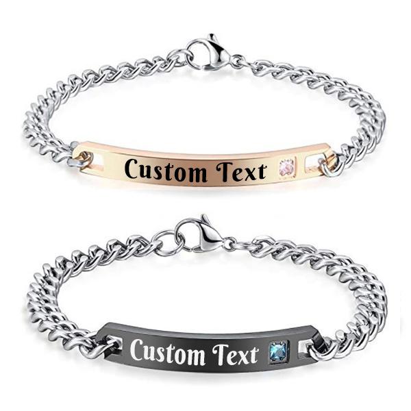 Custom Text Couple Bracelet