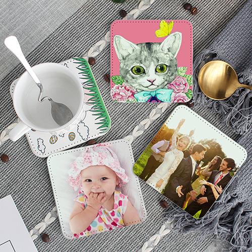 Custom Photo Leather Coasters