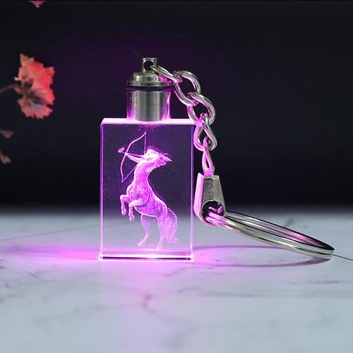 Custom LED Photo Rectangular Crystal Keychain
