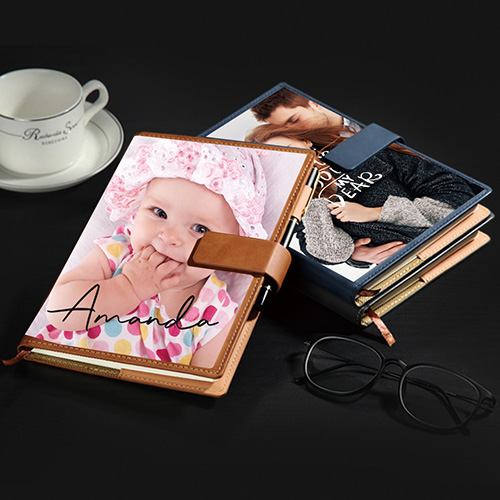 Custom Leather Photo Notebook With Snap