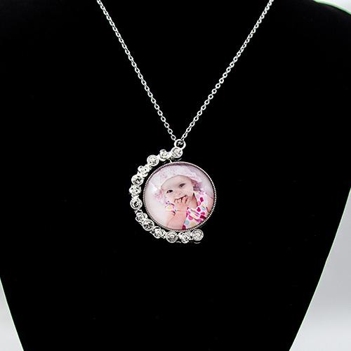 Custom Diamond Rotate Crystal Photo Necklace