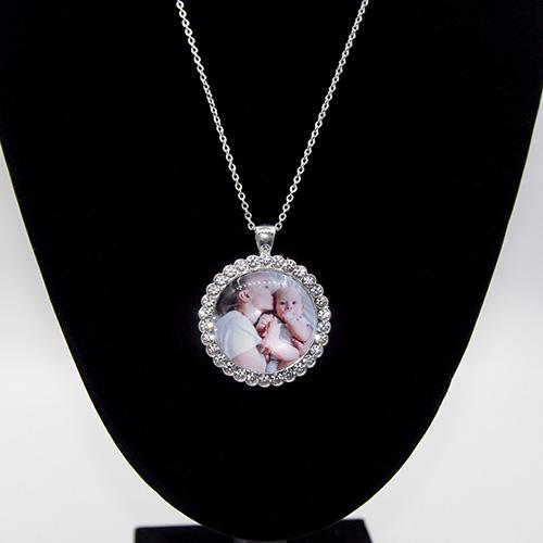 Custom Diamond Round Crystal Photo Necklace