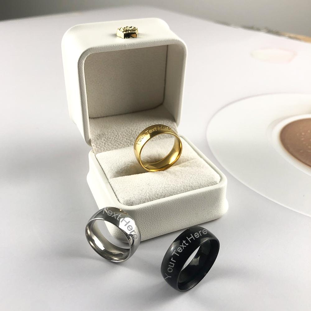 Personalised Monogram 8MM Thin Tungsten Steel Rings C03